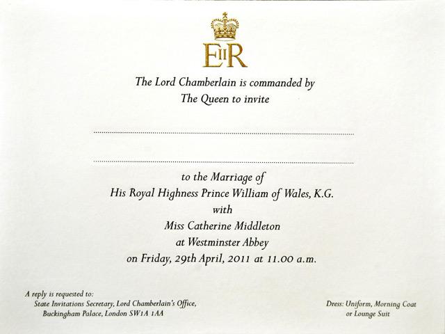 undangan pernikahan pangeran william &Kate