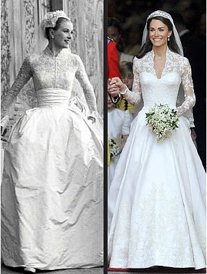 perbandingan gaun pengantin Kate Middleton & Grace Kelly